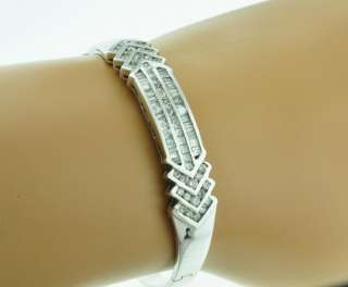 84 ct ladies WHITE GOLD DIAMOND BANGLE BRACELET 18k 17.16 grams
