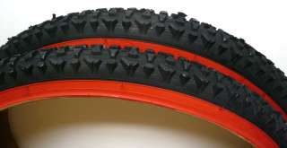 Mountain MTB Bike Pair Tires Black with Red Wall ( 2 tires)