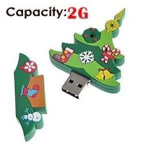 2G Rubber USB Flash Drive with Christmas Tree Shape (Big