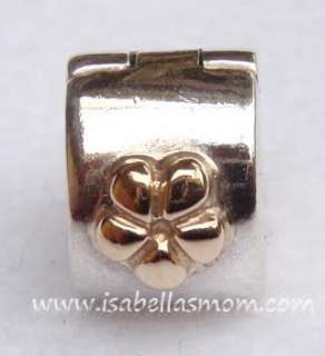 Authentic PANDORA 2 Tone 14kt GOLD~925 Silver FLOWER Clip Charm~Bead