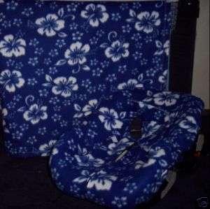 New Infant Car Seat Cover Fleece Blanket Blue Hawaiian