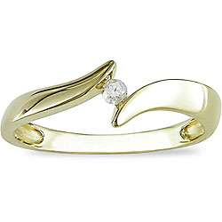 10k Yellow Gold Diamond Accent Bypass Ring