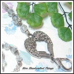 Beaded Lanyard key ring id badge holder  ANGEL WINGS