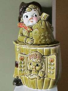 Vintage Japan Peter The Pumpkin Eater Cookie Jar Boy Girl Green Brown