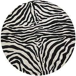 Alexa Zebra Animal Pattern Black/ White Wool Rug (6 Round
