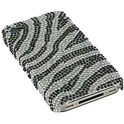 Silver Zebra Rhinestone Case for Apple iPhone 4