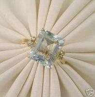 80Ctw Emerald Cut Aquamarine & Diamond Accent Ring