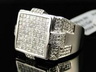 MENS WHITE GOLD PRINCESS CUT DIAMOND SQUARE PINKY FASHION RING 1.79 CT