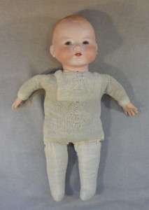 German Bisque Baby Doll 351/4 Antique Clothes Rare Brown Eyes