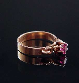Sweetest Antique Victorian 9Ct Rose Gold Ruby Baby Ring
