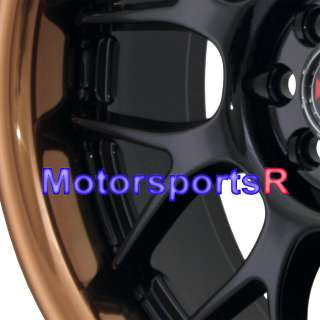 006 Black Copper Lip Rims Wheels 4x100 4x114.3 00 05 Toyota MRS 89 MR2