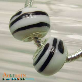 stripe Murano lampwork Glass charm Bead Fit Bracelet free P&P PDP34