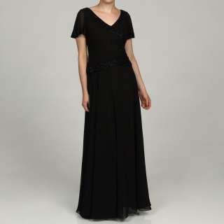 Laxmi Womens Black Beaded Flutter Sleeve Dress