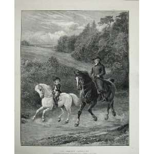 Country Scene Man Horses Little Boy Squire Trees Art