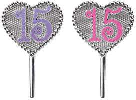 QUINCEANERA HEART SILVER BIRTHDAY PARTY CAKE KIT DECORATION