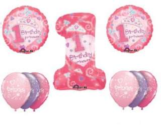 FIRST ONE birthday party supplies PRINCESS BALLOONS #1
