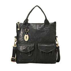 Modern Cargo Black Leather Convertible Tote Bag