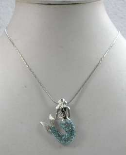 AQUAMARINE AQUA BLUE RHINESTONE CRYSTAL MERMAID PENDANT NECKLACE D234