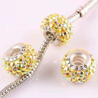925 Sterling Silver Czech Crystal European Charm Beads Findings
