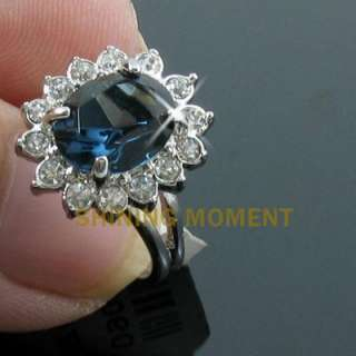 18k Gold Plated Blue Crystal Ring  90789