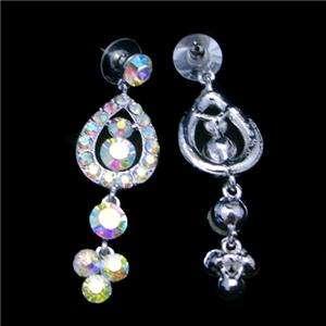 Bridal Peacock Necklace Earring Set w Swarovski Crystal