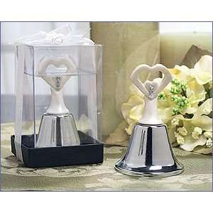 Finish Open Heart Silver Bell   Wedding Party Favors: Home & Kitchen