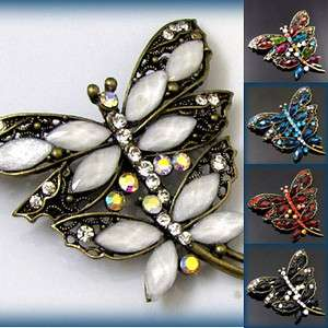 antiqued rhinestone dragonfly brooch pin bridal Bouquet