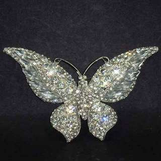 Vintage style Crystal Butterfly Rhinestone Brooch pin PI533