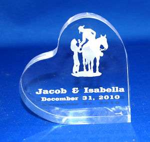 Personalized Western Theme Heart Wedding Cake Topper