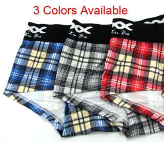Sexy XUBA Mens Boxers Briefs Low Rise trunks check Underwear US XS S M
