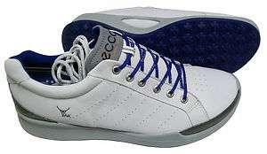 ECCO Biom Hybrid Golf Shoes   White/Royal 737428882832