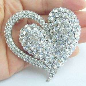Charming Bridal Love Heart Brooch Pin w Clear Swarovski Crystals