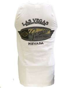 Harley Davidson Las Vegas Dealer T Shirt Tank Top Bar & Shield White