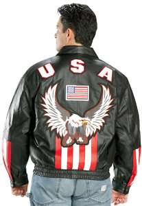 American USA Flag Eagle Bomber LEATHER Jacket