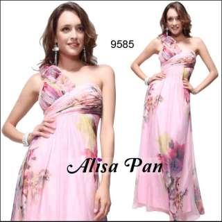 One Shoulder Print Ruffles Flower Chiffon Long Prom Gown 09585
