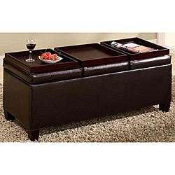 Dark Brown Flip top Ottoman Storage Bench