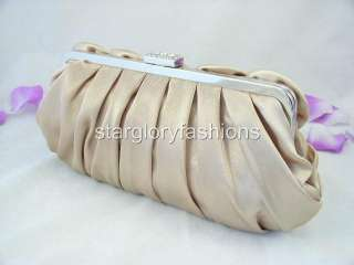 Champagne/Lt Gold Satin Roses Pleated Wedding Clutch Rhinestones EC