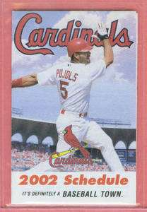 ALBERT PUJOLS ~ 2002 St. Louis Cardinals Rookie Pocket Schedule