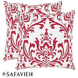 Paris 22 inch Red/ White Decorative Pillows (Set of 2)