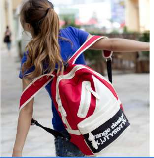 Fashion Canvas Hiking Backpack School Bookbag Red Black Optional