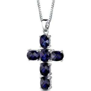 Blue Sapphire CROSS Pendant with 18 inch Silver Necklace peora