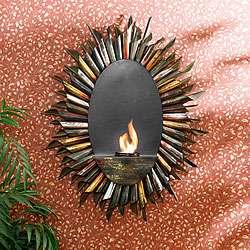 Spiral Sunburst Wall mounted Gel Fuel Sconce
