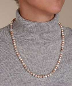 DaVonna White and Pink Freshwater Pearl 24 inch Necklace (6.5 7 mm