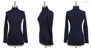 Basic Solid Long Sleeve Turtle Neck Top Stretch VARIOUS COLOR and SIZE