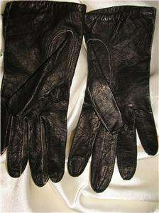 VINTAGE BLACK LAMBSKIN LEATHER GLOVES XS MADE IN ITALY