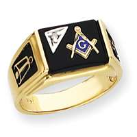 Gold AA Diamond .011 Chip Mens Masonic Ring Masons Temple