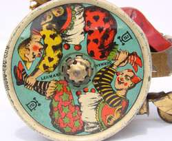 LEHMANN Germany TIN Litho Wind up TOY BALKY MULE w Clown in Cart