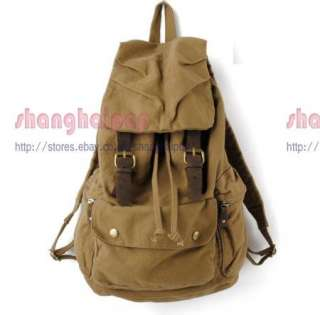 Canvas Rucksack Backpack Military Bag Army School Hiking Travel