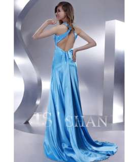 JSSHAN Sexy Halter Satin Bead Long Party Ball Formal Prom Gown Evening