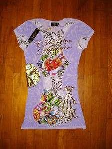 NEW Christian Audigier Rhinestone Women Tee Shirt Ed Hardy S NEW
